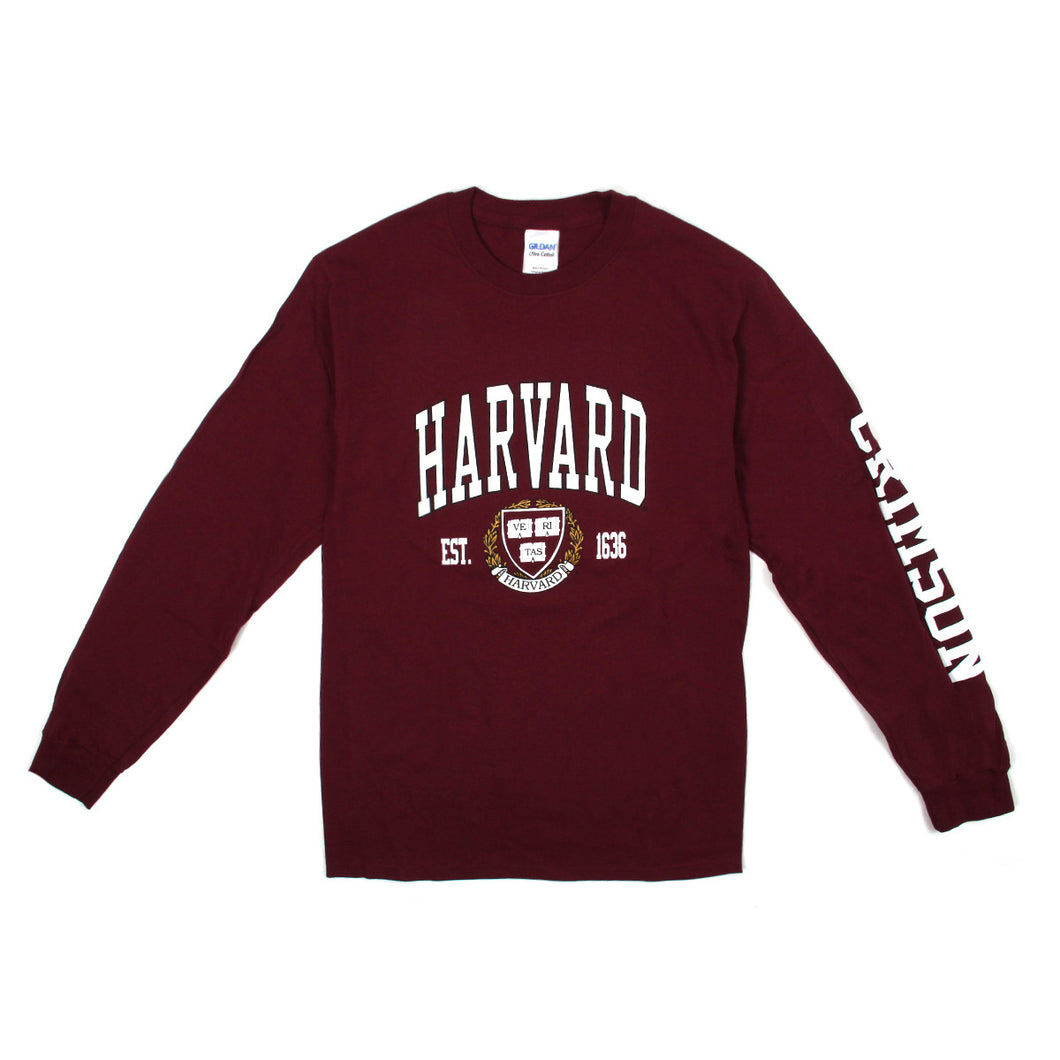 Womens Harvard Arch Logo & Crest Long Sleeve (Crimson)