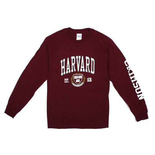 Harvard Arch Logo & Crest Long Sleeve (Crimson) T - Shirt