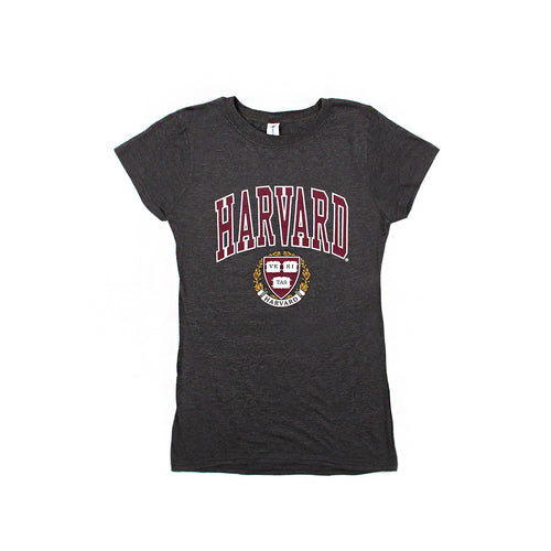 Womens Harvard Logo & Crest Crew Neck Tee (Grey)