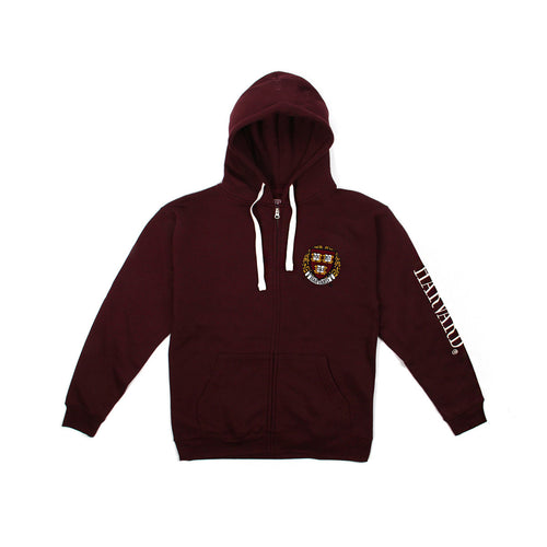 Harvard Applique  Crest Zip-Up Hoodie (Crimson)