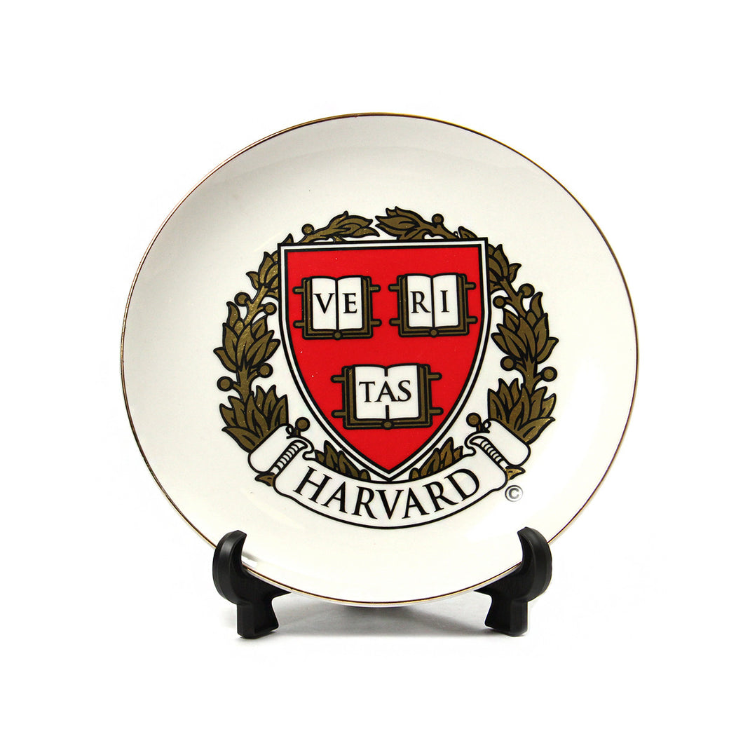 Harvard Crest Plate with stand (White/Crimson)