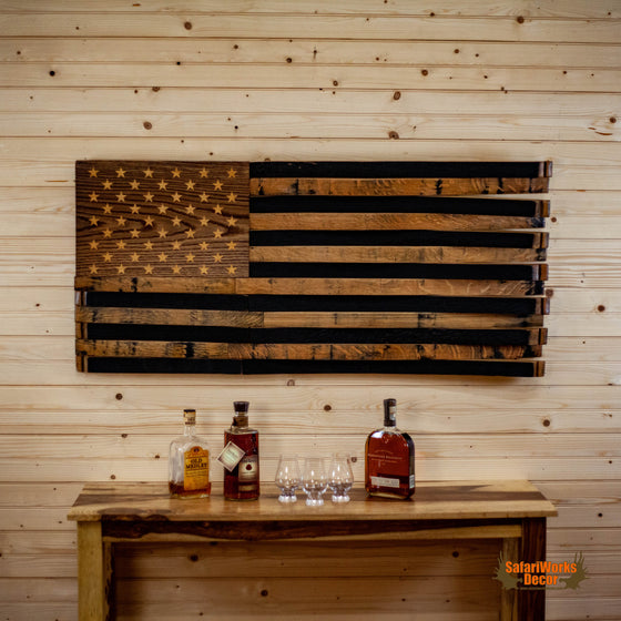 american flag handcrafted repurposed bourbon barrels for sale