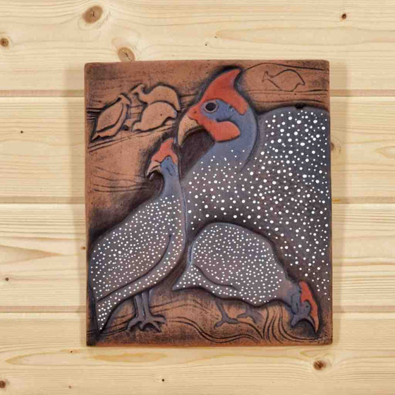 Guinea Fowl Clay Painting