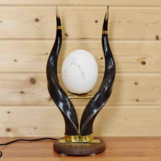 Nyala Horn Lamp with Ostrich Egg