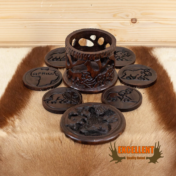 african carved wood coaster set for sale