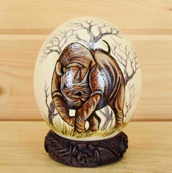 "Painted Ostrich Egg - ""Rhino"""