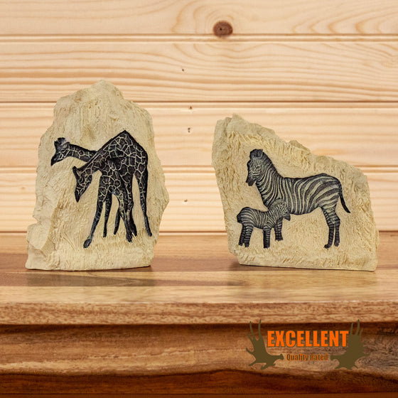 african bookends stone etchings zebra giraffe for sale