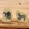 African Zebra Giraffe Stone Etching Bookends SW10480