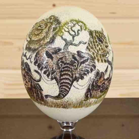 Big 5 Scrimshaw Ostrich Egg