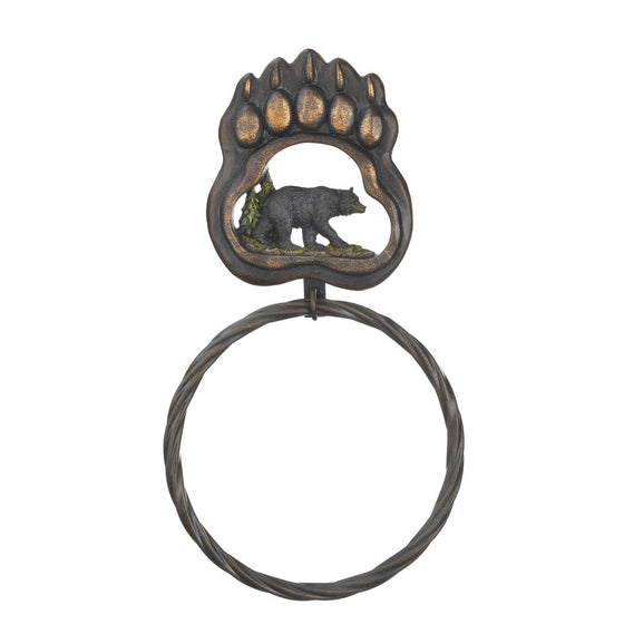 iron black bear towel ring for sale