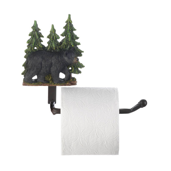 black bear pine trees decorative toilet paper holder for sale