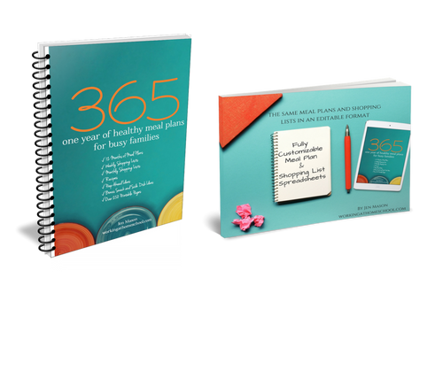 Discount Bundle - 365: One Year of Healthy Meal Plans for Busy Families PLUS Editable Worksheets - Digital Download
