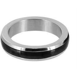 LoveCubby - Cock Rings - Stainless Steel Cock Ring with Black Band- Large by Phs International