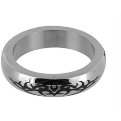 LoveCubby - Cock Rings - Stainless Steel Cock Ring with Tribal Design- Medium by Phs International