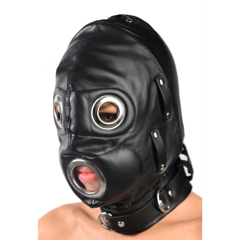 LoveCubby - Hoods & Blindfolds - Total Lockdown Leather Hood - SmallMedium by Strict Leather