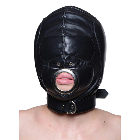 LoveCubby - Hoods & Blindfolds - Leather Padded Hood with Mouth Hole - MediumLarge by Strict Leather