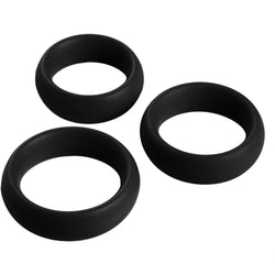 LoveCubby - Cock Rings - 3 Piece Silicone Cock Ring Set - Black by Master Series