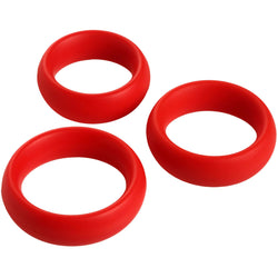 LoveCubby - Cock Rings - 3 Piece Silicone Cock Ring Set - Red by Master Series