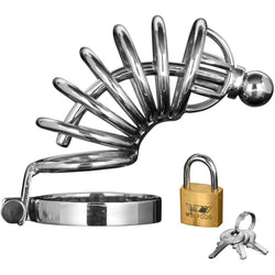 LoveCubby - Chastity - Asylum 6 Ring Locking Chastity Cage - Medium/Large by Master Series