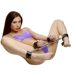 LoveCubby - Restraints - Adjustable Swiveling Spreader Bar with Leather Cuffs by Strict Leather