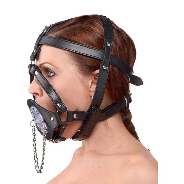 LoveCubby - Muzzles - Plug It Up Leather Head Harness with Mouth Gag by Strict Leather