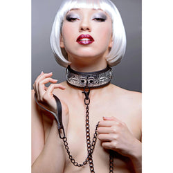 LoveCubby - Collars - Platinum Bound Chained Collar with Leash by Master Series
