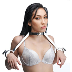 LoveCubby - Collars - At Your Mercy Stainless Steel Neck to Wrist Restraints by Master Series