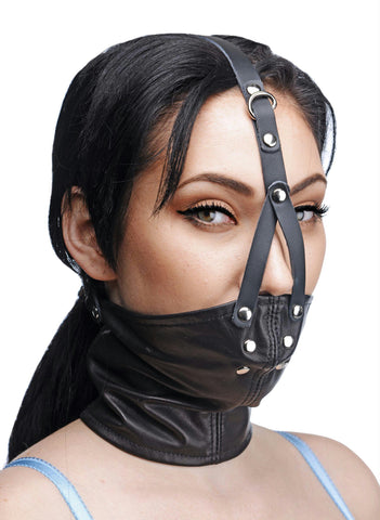LoveCubby - Muzzles - Leather Neck Corset Harness with Stuffer Gag by Master Series