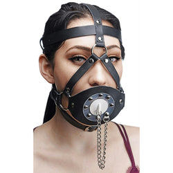 LoveCubby - Muzzles - Plug Your Hole Open Mouth Leather Head Harness by Master Series