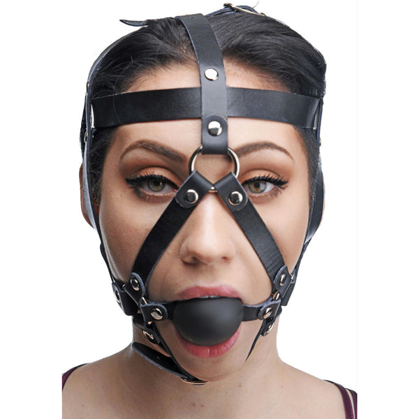 LoveCubby - Mouth Gags - Leather Head Harness with Ball Gag by Master Series