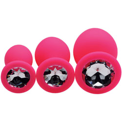 LoveCubby - Butt Plugs - Pink Pleasure 3 Piece Silicone Anal Plugs with Gems by Frisky