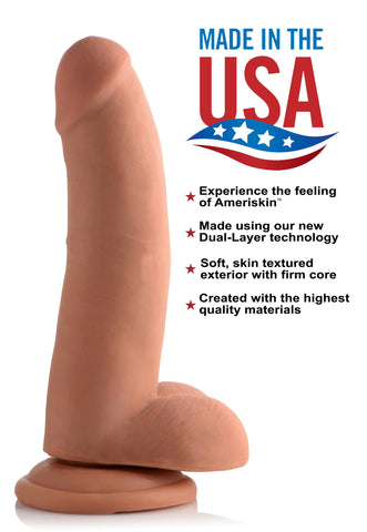 8 Inch Ultra Real Dual Layer Suction Cup Dildo- Medium Skin Tone
