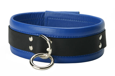 LoveCubby - Collars - Blue Mid-Level Leather Collar by Strict Leather
