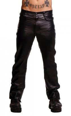 LoveCubby - Clothing & Lingerie - Police Leather Pants with Blue Stripe- 32 Inch Waist by Strict Leather
