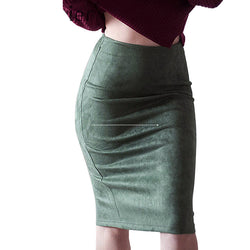 Rok Wanita Suede Solid Color Pencil Skirt High Waist Bodycon Vintage Thick Stretchy - Cantik Menawan