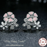 Anting Silver Poetic Daisy Cherry Blossom Drop Mixed & Clear Pink Flower - Cantik Menawan