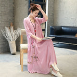 Dress Cantik Terbaru - Kimono Summer Dress Loose Two Piece Vintage - Cantik Menawan
