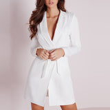 Dress Wanita Cantik & Elegan -  Solid White High Waist Casual Slim Blazer Mini Dress - Cantik Menawan