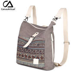 Top Quality Women Canvas Backpack- Dual Purpose Shoulder Bag - Crossbody Bag - Cantik Menawan