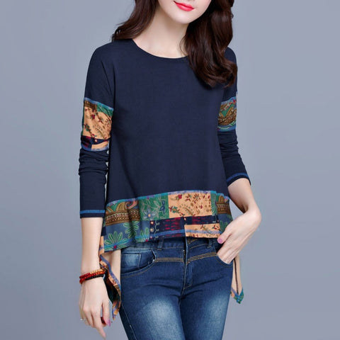 Vintage T Shirt Long sleeve Women Tee Shirt Tunic Plus size Irregular Patchwork 100% Cotton Ladies Casual Tops