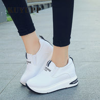 Sepatu Wanita Cantik - High Top Autumn Quality Leather Wedges Casual Shoes - Cantik Menawan