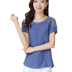Casual Blouse Wanita Hollow Out Lace linen Cotton Shirt Patchwork - Cantik Menawan