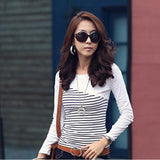 T Shirt Wanita Cantik -  Striped Long Sleeve Tops Cotton Casual