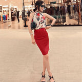 Atasan Wanita Cantik -  Chiffon Sleeveless High Ruffle Neck Floral Pleated Tops Blouse - Cantik Menawan