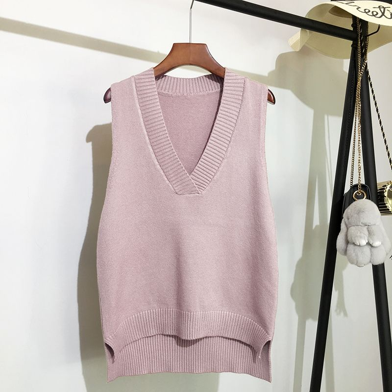 V-neck knitted vest women's sweater autumn and winter new Korean loose wild sweater vest sleeveless sweater
