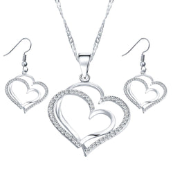 Romantic Heart Pattern Crystal Earrings Necklace Set - Silver Color Chain - Cantik Menawan