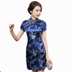 Dress Wanita Traditional Cheongsam Model Cina Sutra Satin Mini Seksi Cantik - Cantik Menawan