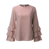 Elegant Ladies O-Neck Flounce Long Sleeve Solid Blusas - Cantik Menawan