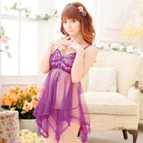 Soft Lucency Lace Belt Dress+ Ding G-string Sleepwear