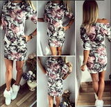 Sexy Women Dress O-Neck Tight Floral Print Dress - Cantik Menawan